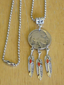Indian headbuffalo nickel coin dream catcher fx red coral pendant image is loading indian head buffalo nickel coin dream catcher fx aloadofball Images