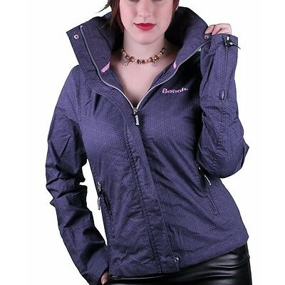 Bench UK Barbecue Blue Stow-away Hood Geometric Pattern Cotton Light Jacket NWT