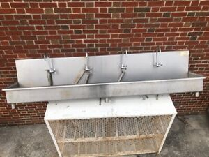 Advance Tabco 4 Faucet Wall Mount Sink In Good Condition Used
