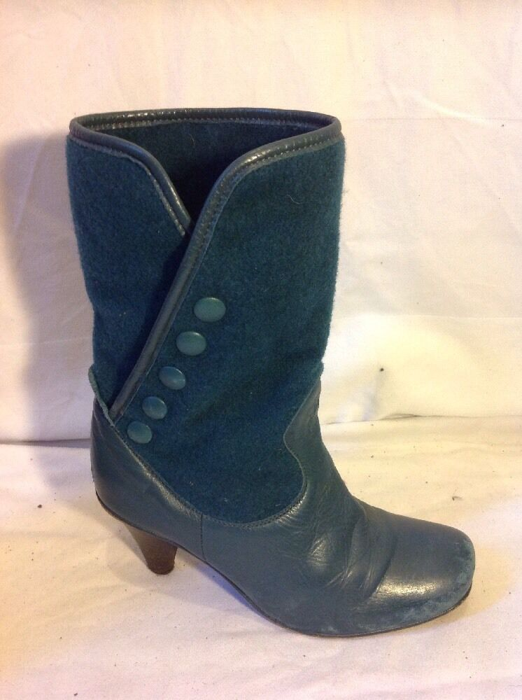 Fly London Green Ankle Leather Boots Size 36