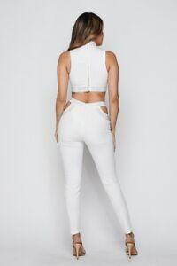 strass due Jumpsuit a 2 pezzi pezzi e Womens bianco wPxXqdX0