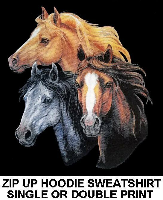 PALOMINO THOROUGHBROT QUARTERHORSE MORGAN MUSTANG HORSE ZIP HOODIE SWEATSHIRT