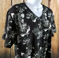 Rue21 Carbon V Neck Floral Summer Top Blouse Black White Medium With Tags