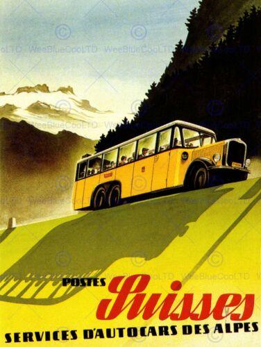 TRANSPORT POST BUS ALPINE SWISS AIN ROAD PINE FOREST ART PRINT POSTER CC2188