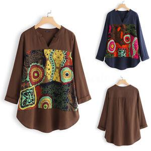 Vintage-Femme-Haut-Asymetrique-Manche-Longue-Pur-coton-Chemise-Shirt-imprime