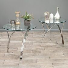 (Set of 2) Modern Design Tempered Glass Round End Tables w/ Chrome Legs