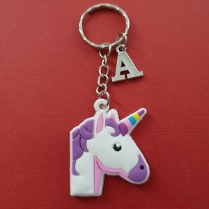 Unicorn-Keychain-and-Initial-Letter-A-to-Z-Keyring-Charms-personalise-great-gift