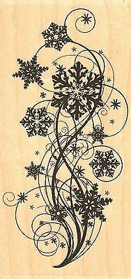 Snowflake Flourish Wood Mounted Rubber Stamp IMPRESSION OBSESSION F13376 New