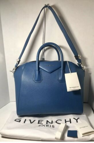 cuero piel de 3594652977508 cabra bolso azul de auténtico Antigona Nwt Givenchy 100 satchel de Cct4nqg