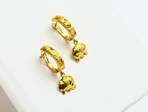18k-solid-gold-diamond-cut-elephant-for-kid-young-adult-earring-b7