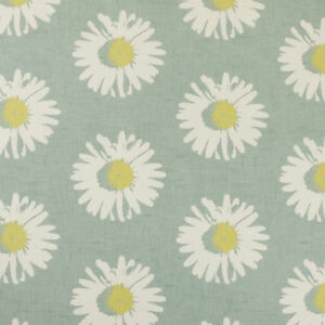 Daisy Chartreuse Grey Floral Oilcloth Wipeclean PVC Vinyl Tablecloth All Shapes