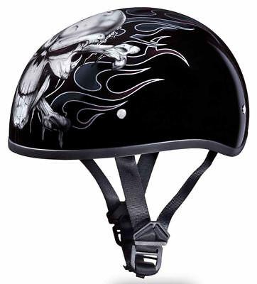 Daytona Skull Cap Shorty CROSS BONES DOT Motorcycle Helmet-ALL SIZES