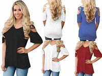 Woman's Ladies CrissCross Cold Shoulder Holiday Tunic Party Top Size 12-20