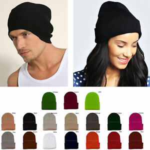 Cuff Beanie Plain Knit Hat Winter Warm Cap Slouchy Skull Ski Hats Men Women Warm
