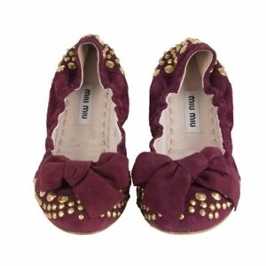 5c79a1b04ac 52168 auth MIU MIU burgundy suede leather STUDDED Ballet Flats Shoes ...