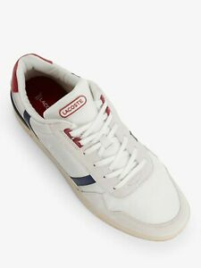 Lacoste-T-Clip-120-Men-039-s-Fasion-Casual-Leather-Shoes-Sneakers-Off-White-Navy-Red