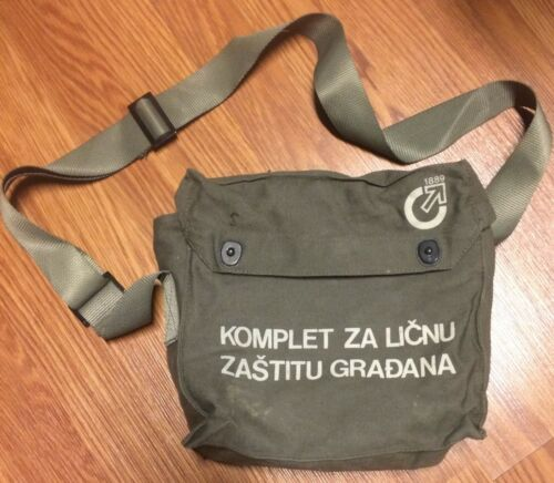 Serbian Army Dark Green canvas Gas Mask Bag Running Hiking Camping Biking Pack