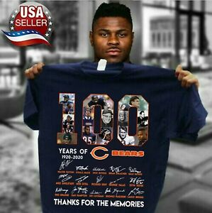 100-years-anniversary-of-CHICAGO-BEARS-T-Shirt-Signature-For-Fan-Footbalt-Navy