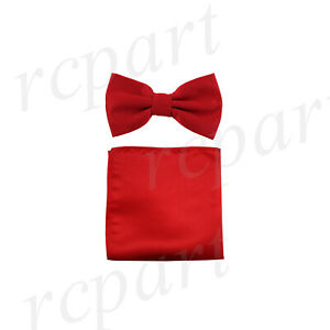 New men/'s pre-tied bow tie set solid 100/% polyester formal wedding prom orange