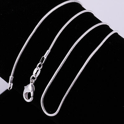 Mens Womens Fashion Jewelry 925 Sterling Silver Plated 1mm Snake Necklace Chain