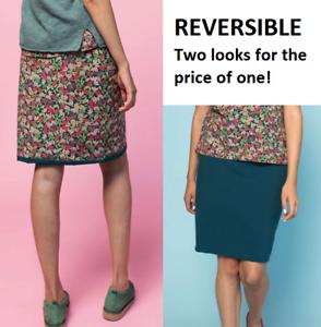 BNWT Gudrun Sjoden 'Minerva' Reversible Green Cotton Tube Skirt Size M