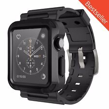 iWatch Strap Band and Screen Protector Case for Watch 42mm - Black