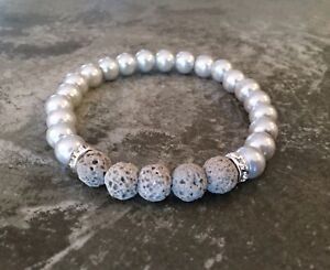 Essential-Oil-Diffuser-Lava-Rock-Bracelet-Aromatherapy-Gray-Faux-Pearl-Bling