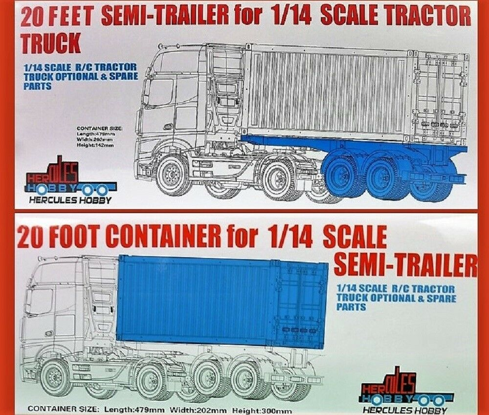 20 foot Bogie Container Trailer & CONTAINER for Tamiya 1 14 RC Semi Trailers
