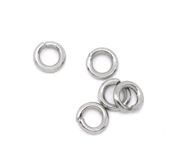 500 Stainless Steel Open Jump Rings 4mm Dia. Findings