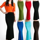 Big Layer Banded Waist Casual Fold over Plain Long Maxi Full Skirt S/M/L/XL