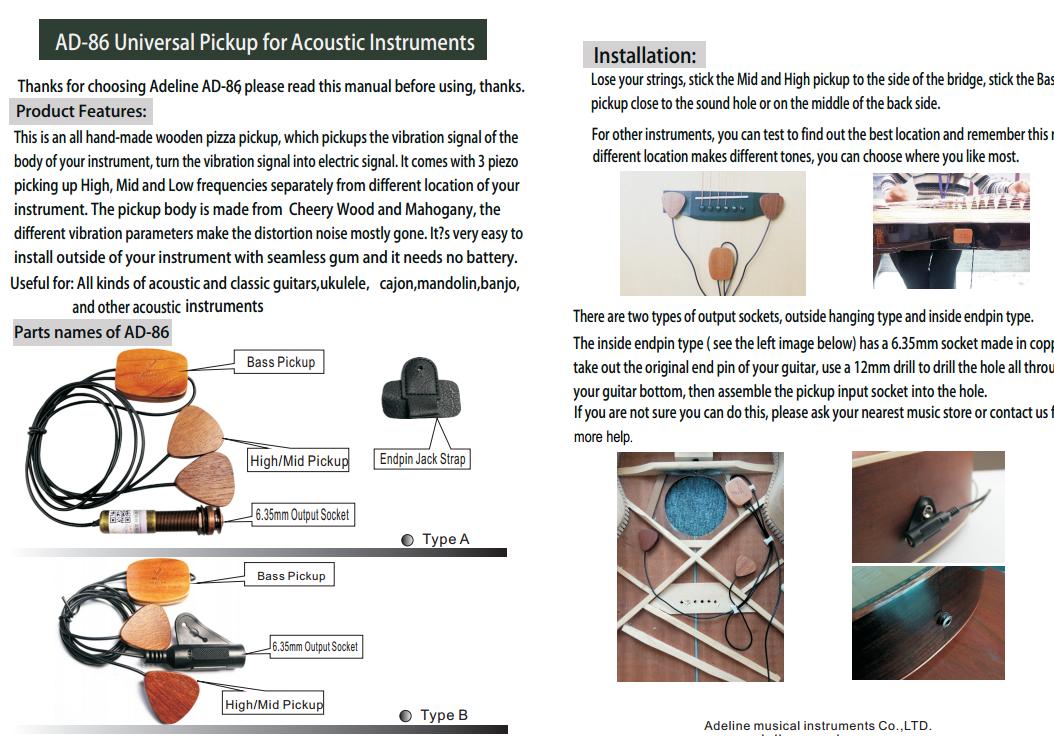 Adeline AD-86 mano MADEL 3-Way Pickup Para Para Para Todo Tipo De Instrumentos Musicales 19e4bd