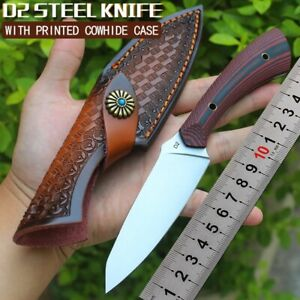 Outdoor Survival Fixed Blade D2 Steel G10 Handle Straight Tool Pocket Knives