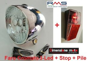 Kit-Faro-Fanale-Cromato-3-Led-BTA-Stop-a-Parafango-per-Bici-20-24-26-Graziella