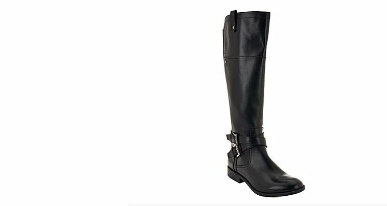 Marc Fisher Leather Riding Boots - audrey  medium calf  black 6.5m new