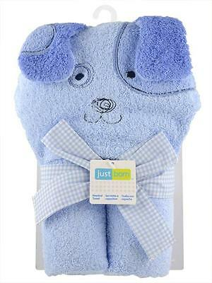 Just Born Woven Character Terry Hooded Towel for Baby Bath - BLUE PUPPY DOG NEW