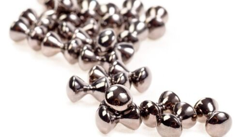 """15 7//32/"""" dumbbell eyes SILVER NICKEL 5.5mm fly tying Hourglass size XLarge"""