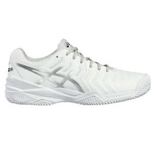 ASICS Men's Gel-Resolution 7 White/Silver Clay Tennis Shoes E702Y.0193 NEW