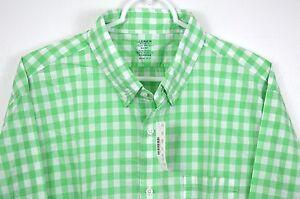 New-J-Crew-Slim-Lightweight-Shirt-Long-Sleeve-Gingham-Plaid-Bright-Green-NWT