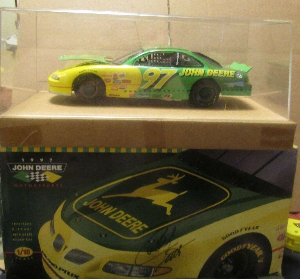 NEW AUTOGRAPHED CHAD LITTLE 1/18 JOHN DEERE NASCAR  #97 PONTIAC GRAND PX ERTL