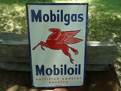 Mobil Special Gasoline Porcelain Advertising Sign