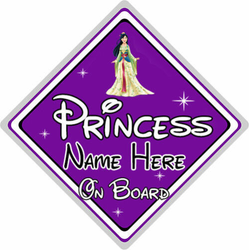 Personalised Disney Princess On Board Car Sign Baby On Board Purple Mulan