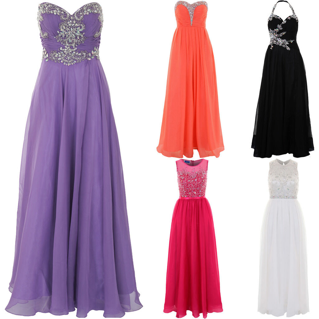 Womens Sleeveless Strapless Crystal Chiffon Prom Maxi Bridesmaid Gown Dress