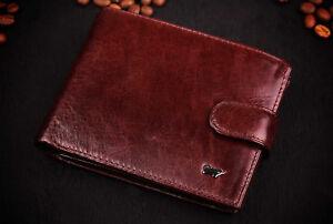 Men/'s Genuine Leather Brown Braun Buffel Thin Wallet