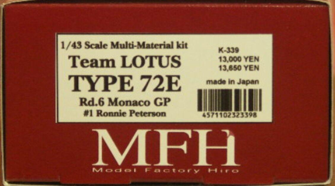 Förlaga till fabrik Hiro 1  43 Lotus 72e Monaco Gp 1974 Multi Material Set K -339 japan