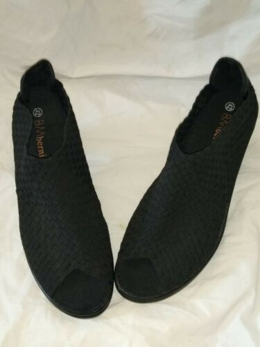 Bernie Mev Claire Peep Toe Black Heel Shoes Size 4