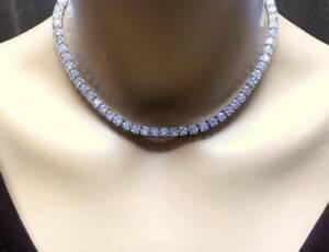 30-00-Ct-Round-Cut-D-VVS1-Diamond-16-034-Tennis-Necklace-14K-White-Gold-Over