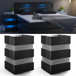 2x nachttisch led kommode nachtschrank schublade. Black Bedroom Furniture Sets. Home Design Ideas