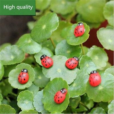 100pcs Mini Ladybugs Shaped Stickers Miniature Ornament DIY Fairy Garden Decor
