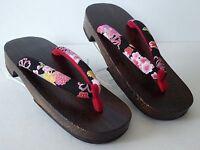 Japanese Wooden Geta Sandal Kimono Yukata Mix Flower Pattern/ Us Size 8 - 9
