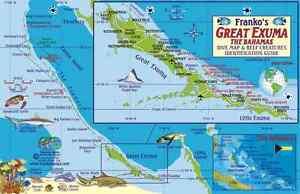 Great Exuma Bahamas Dive Map  Coral Reef Guide Laminated Fish